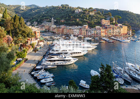 Luxury yachts moored in the harbour of Portofino, a popular Mediterranean resort on the Ligurian coast in Italy - Stock Photo