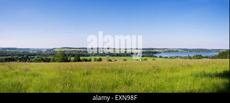 Germany, Bavaria, Chiemgau, Traunstein, View to Waginger See, Waging am See, Panorama - Stock Photo