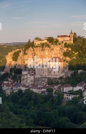 Sunrise over Medieval town of Rocamadour, Lot Department, Midi-Pyrenees, France - Stock Photo