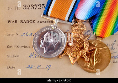 First World War medals: 'Pip, Squeak and Wilfred'  British War Medal; 1914 Star; Victory Medal (left to right) with - Stock Photo