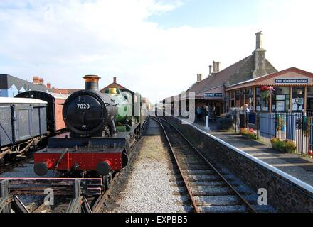 The end of the West Somerset Railway line at Minehead. - Stock Photo