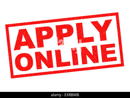 APPLY ONLINE red Rubber Stamp over a white background. - Stock Photo