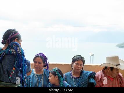 Maya indigenous people in San Antonio Palopo, Solola, Guatemala. - Stock Photo