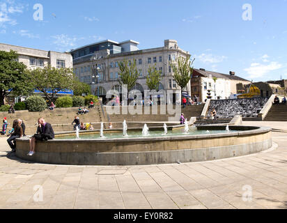 Fountains in Castle Square, Swansea, West Glamorgan, South Wales, UK - Stock Photo