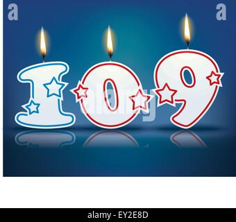 Birthday candle number 109 with flame - eps 10 vector illustration - Stock Photo