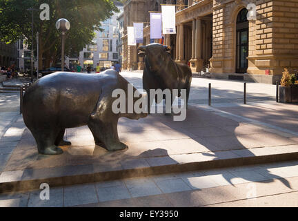 Bronze sculptures bull and bear, square of the stock exchange, Frankfurt am Main, Hesse, Germany - Stock Photo