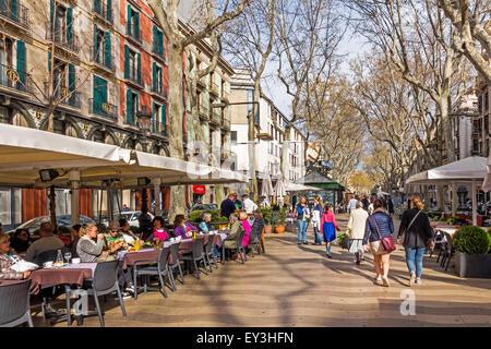 People Wandering Along La Rambla Barelona Catalunya Spain - Stock Photo
