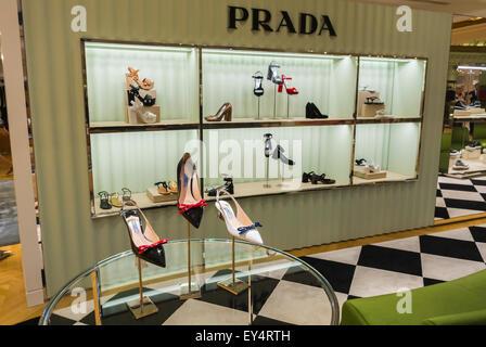 Paris, France, Prada Store Women's Accessories High Heels designer Shoes, on Display, Luxury Fashion Brands Shopping - Stock Photo