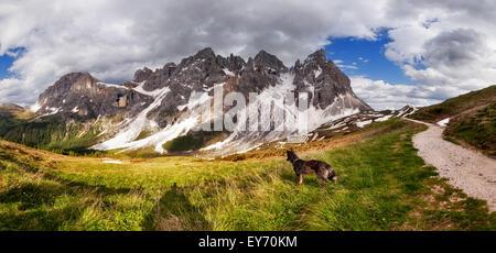 Panorama of Pale di San Martino mountain, Dolomites Alps, Italy - Stock Photo