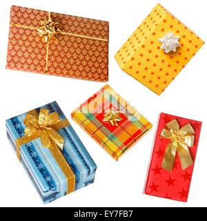 Various gifts isolated on white. Boxes wrapped with colorful paper, bow on each present - Stock Photo