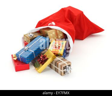 Lots of colorful Christmas presents pouring from Santa bag - Stock Photo