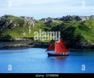 Boat In The Sea, Galway Hooker, County Galway, Republic Of Ireland - Stock Photo