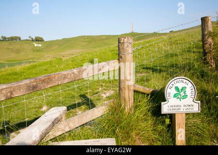 National Trust sign Cherhill Down and Oldbury Castle with Lansdowne monument, Cherhill, Wiltshire, England, UK - Stock Photo