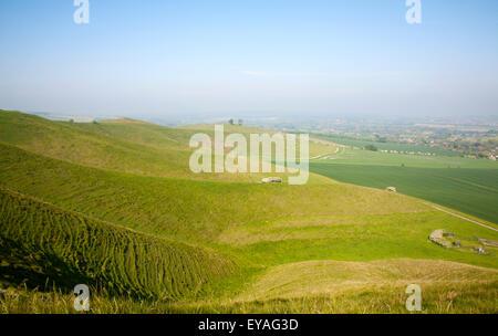 Summer view arable fields chalk landscape from Cherhill Down escarpment, Wiltshire, England, UK - Stock Photo