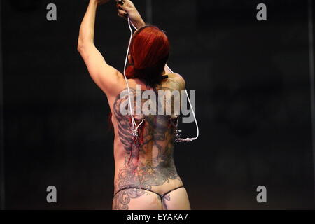 Gdansk, Poland 25th, July 2015 Gdansk Tattoo Konwent 2015 kicks off in Amber Expo hall. During two day long event - Stock Photo