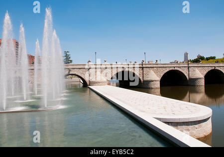 Segovia bridge and Manzanares river. Madrid Rio park, Madrid, Spain. - Stock Photo