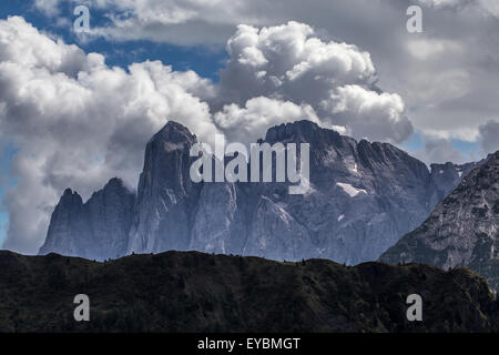 The Agner massif with Mt.Lastei d'Agner.  The Pale di San Martino mountain range.  The Dolomites. - Stock Photo