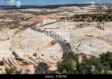 Road through The Grand Staircase-Escalante National Monument, Utah - Stock Photo