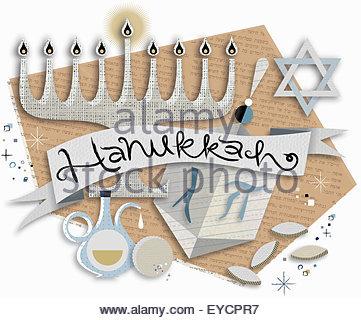 Hanukkah symbols and banner - Stock Photo