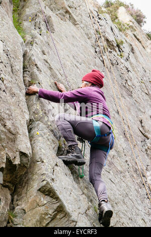 Female rock climber with safety rope climbing up a crack in a steep rockface. North Wales, UK, Britain - Stock Photo