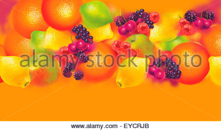 Colorful pattern of lots of different fresh fruit - Stock Photo