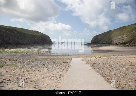 View of the secluded coastal bay at Nolton Haven in Pembrokeshire - Stock Photo