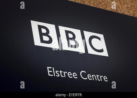 BBC Elstree Studios entrance sign - Stock Photo