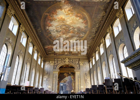 A view of the ceiling at the painted hall, old royal naval college - Stock Photo