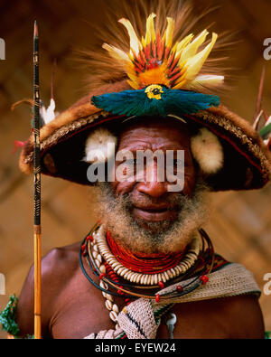Huli, wigman from the Southern Highlands Province; Hela Province, Papua New Guinea - Stock Photo
