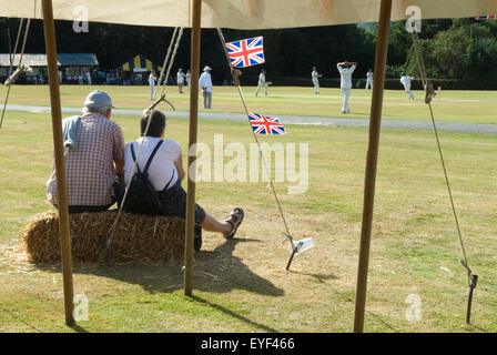 Ebernoe village Common. Annual cricket match on  Common, Ebernoe CC versus Wessrx Pilgrims CC. HOMER SYKES - Stock Photo