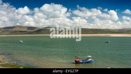 UK, Wales, Gwynedd, Aberdovey, boats moored in River Dovey estuary, panoramic - Stock Photo
