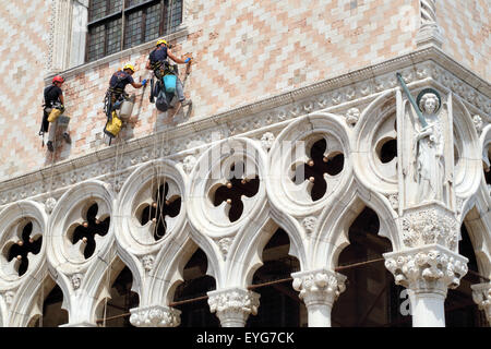 Restoration work at Palazzo Ducale (Doge's Palace), Piazza San Marco, Venice - Stock Photo