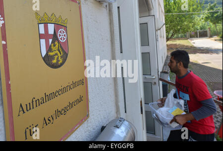 Trier, Germany. 29th July, 2015. A resident enters the reception facility for asylum seekers in Trier, Germany, - Stock Photo