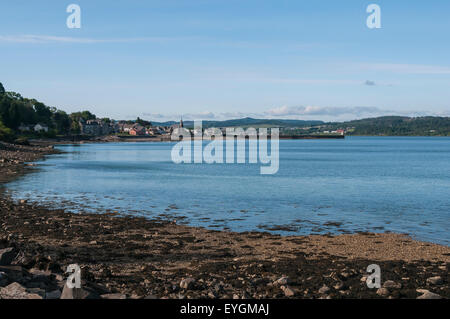 Looking back at Ardrishaig, from the Tarbert road on the shore of Loch Gilp, Argyle and Bute, Scotland - Stock Photo