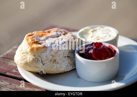 A freshly prepared scone with jam and cream, an English cream tea. Served up on a plate at a cafe and waiting to - Stock Photo