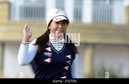 Turnberry, Scotland. 30th July, 2015. Ricoh Womens British Open Golf round 1. Yumiko Yoshida finishes for the day - Stock Photo