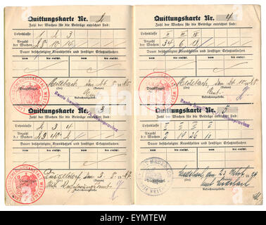 Document for Disability Insurance, Germany, 1927, - Stock Photo