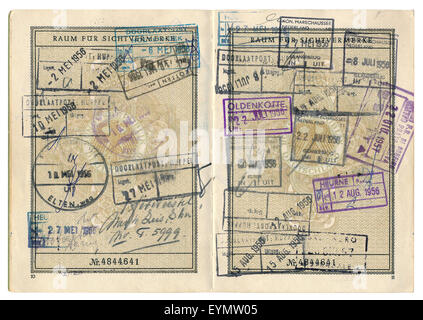 Old German passport with various visa entries from the Netherlands, 1956, Germany, Europe, - Stock Photo