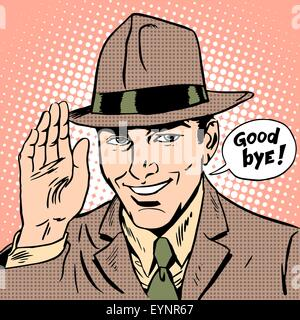Courtesy the man says goodbye. Etiquette parting smile gentleman - Stock Photo