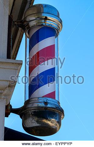 Barbers shop pole, Poole, Dorset, England, UK - Stock Photo