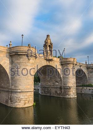 Bridge of Toledo over river Manzanares in Madrid, Spain. Puente de Toledo - Stock Photo