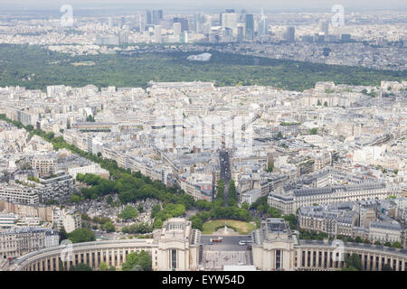 View North West from the top of the Eiffel Tower looking towards the Place du Trocadero with La Défense in the far - Stock Photo