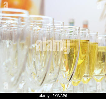 clean glasses of champagne on the table - Stock Photo