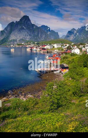 Reine. Scenic town of Reine on Lofoten islands in Norway on sunny summer day. - Stock Photo