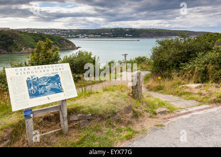 The coast path to Fishguard Fort, perched above Lower Town, Fishguard, Pembrokeshire, Wales, UK, with Goodwick in - Stock Photo