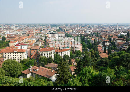 Cityscape, view of the lower town, Bergamo, Lombardy, Italy - Stock Photo