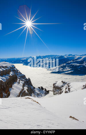 Eastern Swiss Alps and Chur Rhine Valley, view from Chaeserrugg, Switzerland - Stock Photo