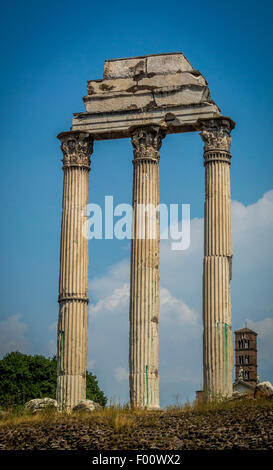 Three Pillars of the Temple of Castor and Pollux in the Roman Forum. - Stock Photo