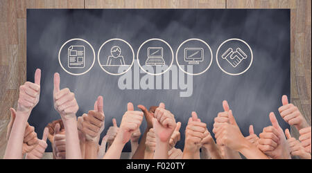 Composite image of hands giving thumbs up - Stock Photo