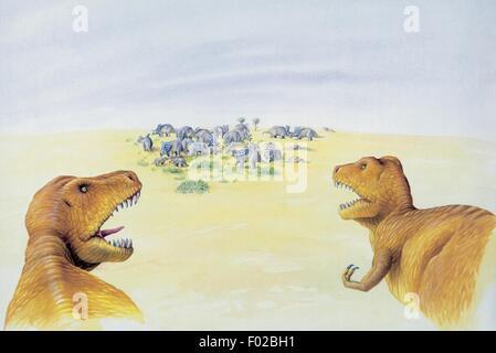 Palaeozoology - Cretaceous Period - Dinosaurs - Albertosaurus (art work by Clive Pritchard) - Stock Photo